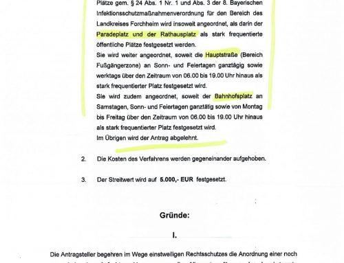 VG Bayreuth: Eilantrag von Bögelein & Dr. Axmann gegen Maskenpflicht in Forchheimer Innenstadt überwiegend erfolgreich